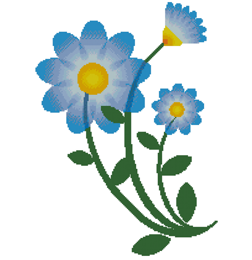 Happy Blue Flowers Counted Cross Stitch Pattern - PDF Download