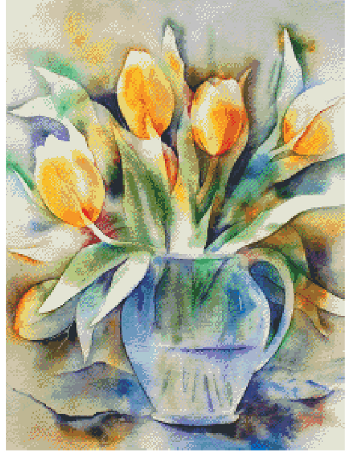 Watercolor Tulips Counted Cross Stitch Pattern