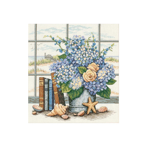 Hydrangeas and Shells - Dimensions Counted Cross Stitch Kit