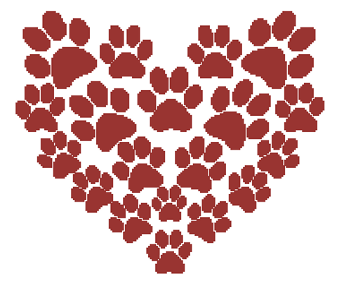 A Heart Full of Paw Prints Counted Cross Stitch Pattern - PDF Download