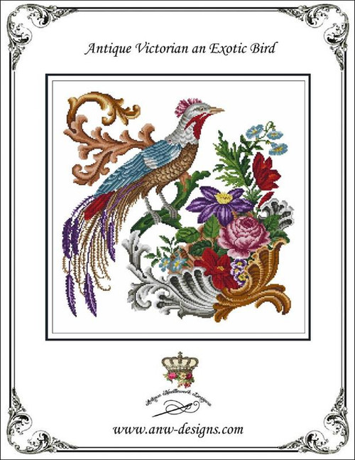 Antique Victorian, An Exotic Bird Counted Cross Stitch Pattern Antique Needlework Designs