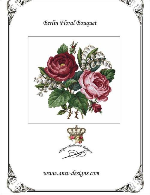 Berlin Floral Bouquet Counted Cross Stitch Pattern Antique Needlework Designs