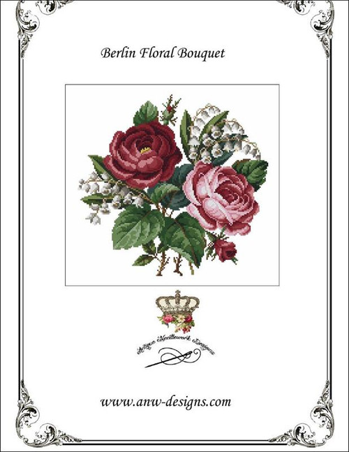 Berlin Floral Bouquet Counted Cross Stitch Pattern Antique Needlework Designs