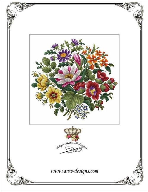 Victorian Floral Bouquet - 1 Counted Cross Stitch Pattern Antique Needlework Designs