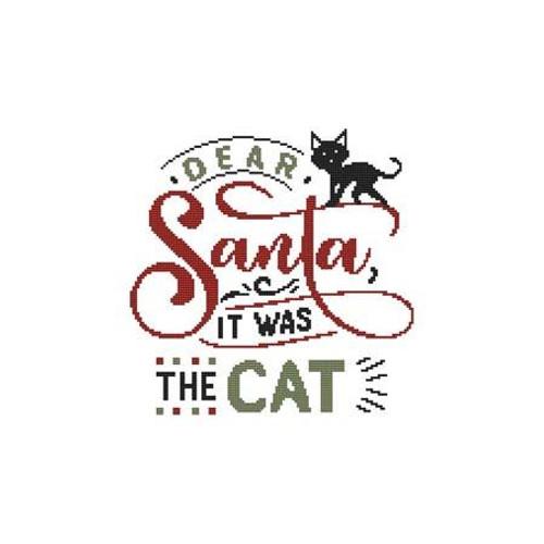 Dear Santa, It Was the Cat Counted Cross Stitch Pattern