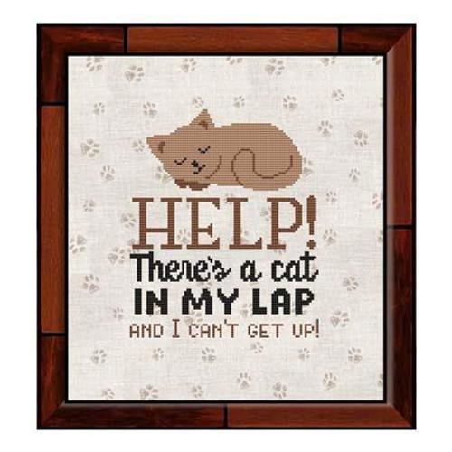 HELP! There Is a Cat in My Lap and I Can't Get Up! Counted Cross Stitch Pattern
