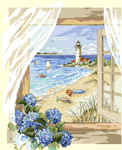 A View From the Window Counted Cross Stitch Pattern