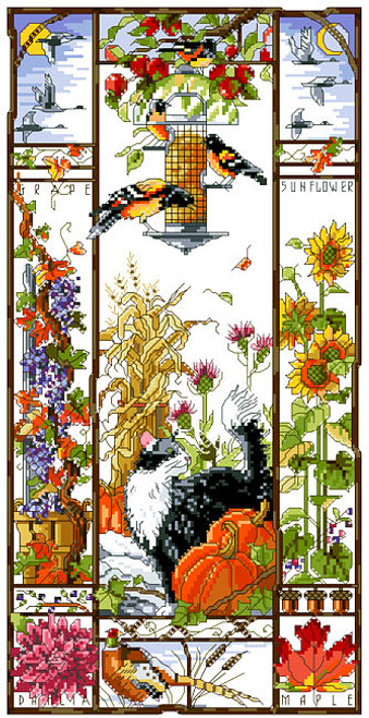 Autumn Cat Sampler Counted Cross Stitch Pattern