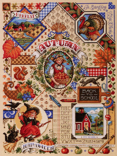 Autumn Sampler Counted Cross Stitch Pattern