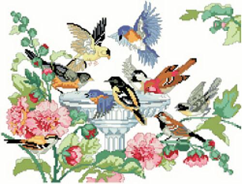 Bird Bath Counted Cross Stitch Pattern