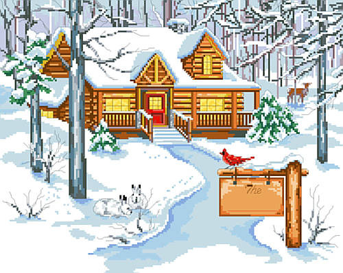 Cabin in the Woods Counted Cross Stitch Pattern