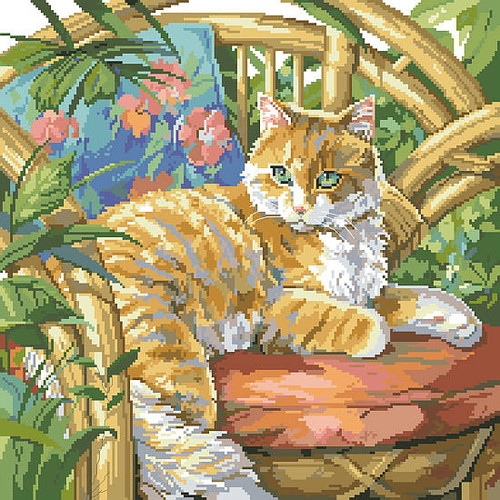 Cat in the Sun Counted Cross Stitch Pattern