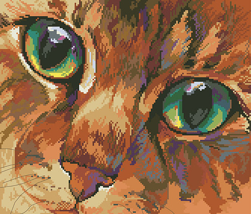Cat's Eyes Counted Cross Stitch Pattern