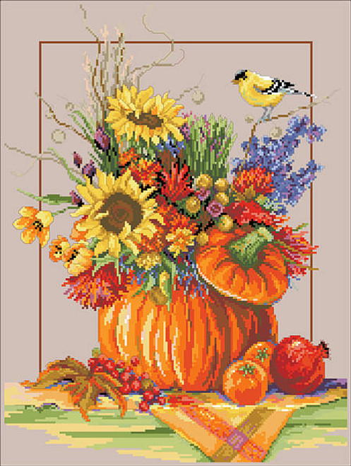 Fall Floral Arrangement Counted Cross Stitch Pattern
