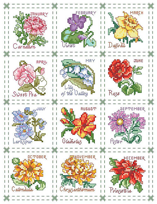 Flower of the Month Sampler Counted Cross Stitch Pattern