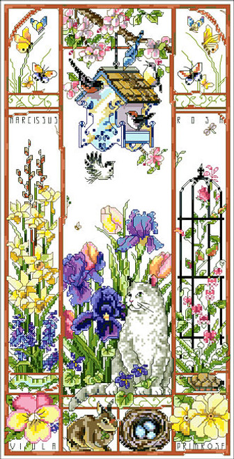Spring Cat Sampler Counted Cross Stitch Pattern