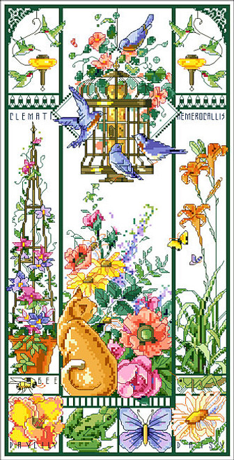Summer Cat Sampler Counted Cross Stitch Pattern