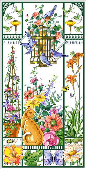 Summer Cat Sampler Counted Cross Stitch Pattern