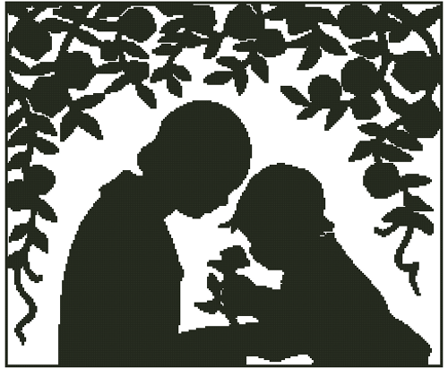 Mother and Child Silhouette Counted Cross Stitch Pattern