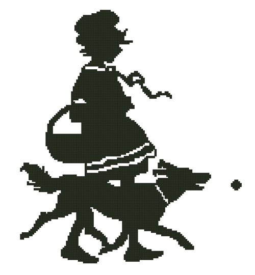A Girl and Her Dog Counted Cross Stitch Pattern