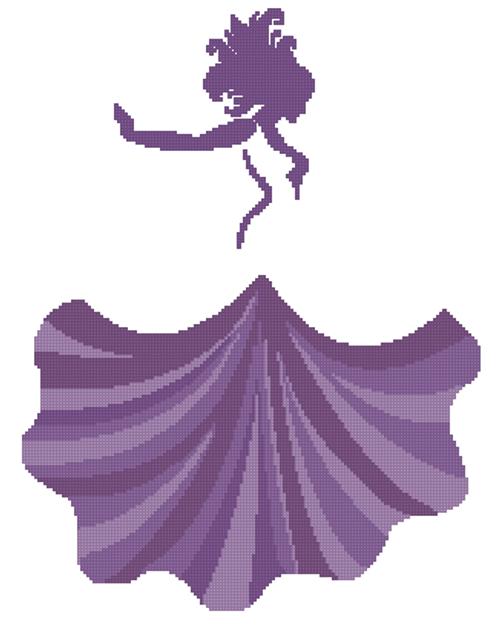 Woman Dancing Counted Cross Stitch Pattern - PDF Download