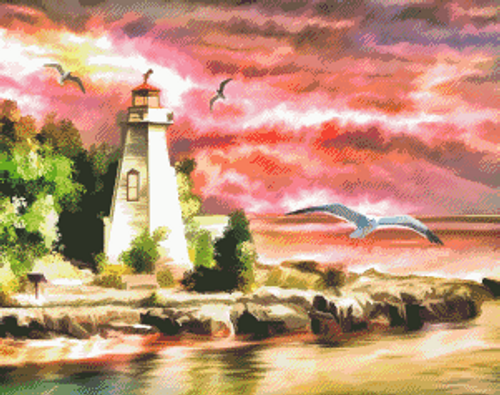 Lighthouse Beacon Counted Cross Stitch Pattern