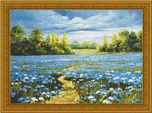 Blossoming Cornflowers Kustom Krafts Counted Cross Stitch Pattern
