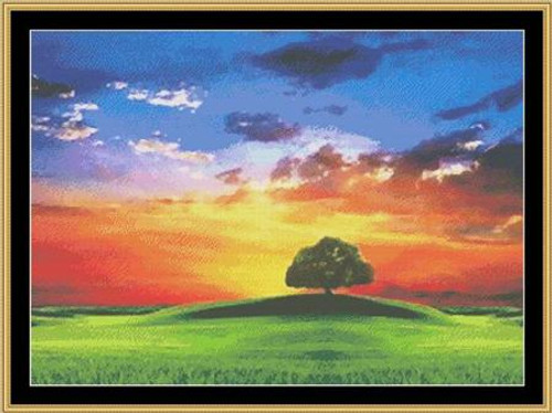 Rainbow Landscape Mystic Stitch Counted Cross Stitch Pattern