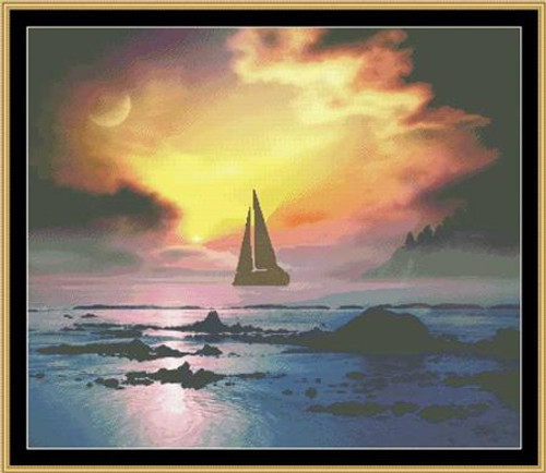 Sunset Sail Mystic Stitch Counted Cross Stitch Pattern