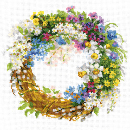 Wreath with Bird Cherry - Riolis Counted Cross Stitch Kit