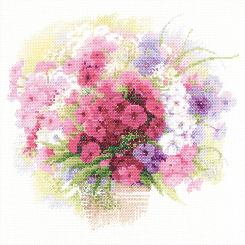 Watercolor Phlox - Riolis Counted Cross Stitch Kit