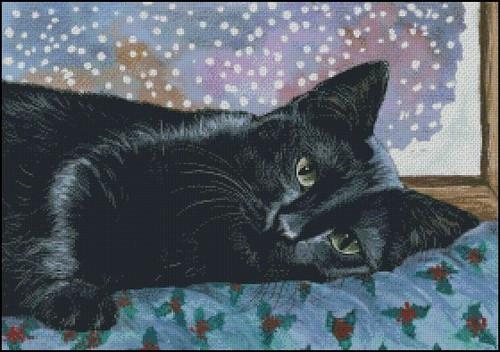 Christmas Black Cat - Shinysun's Counted Cross Stitch Pattern