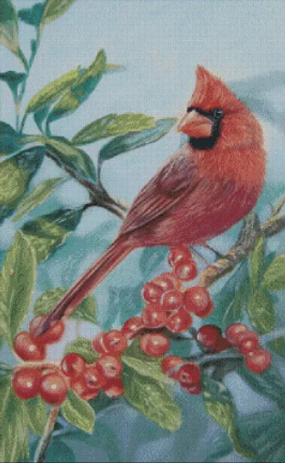 Cardinal and Berries - Shinysun's Counted Cross Stitch Pattern