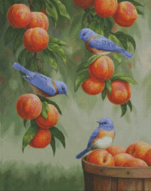 Bluebirds and Peaches - Shinysun's Counted Cross Stitch Pattern