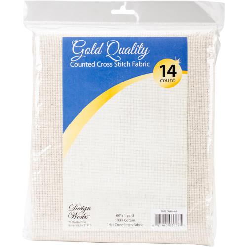 "14ct Aida 60"" x 36"" - Oatmeal - Design Works Gold Quality"