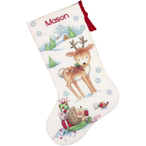 Reindeer Hedgehog Stocking Dimensions Counted Cross Stitch Kit