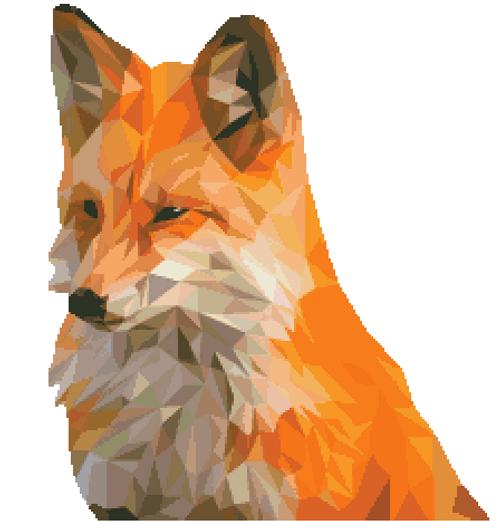 Polygon Fox Counted Cross Stitch Pattern