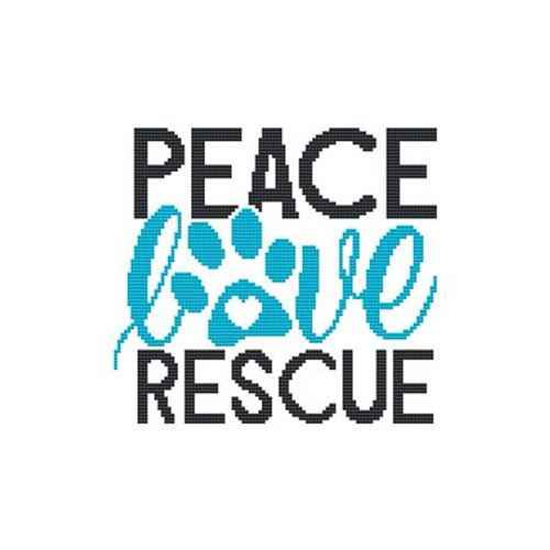 Peace Love Rescue Counted Cross Stitch Pattern