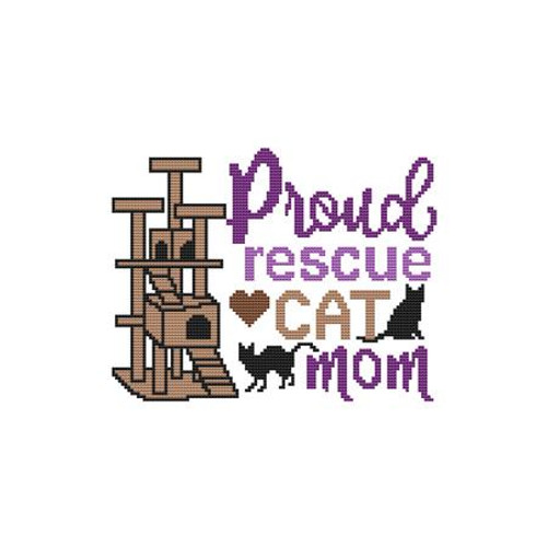 A Cat Saying - Proud Rescue Cat Mom Counted Cross Stitch Pattern