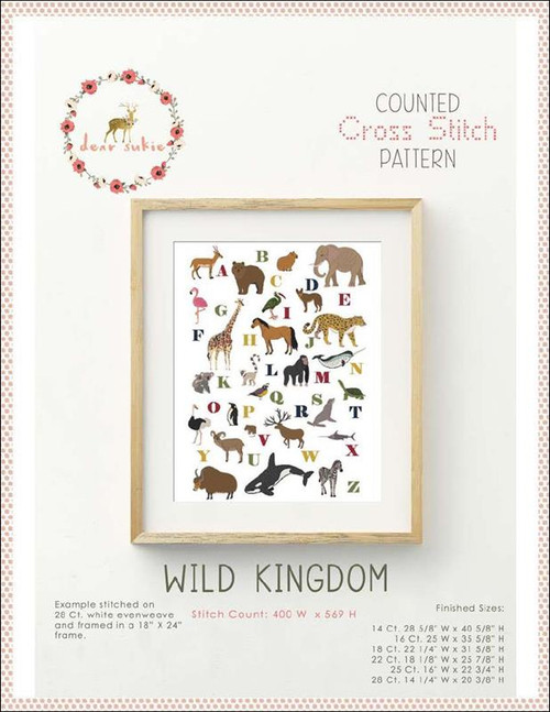 Wild Kingdom Alphabet Counted Cross Stitch Pattern