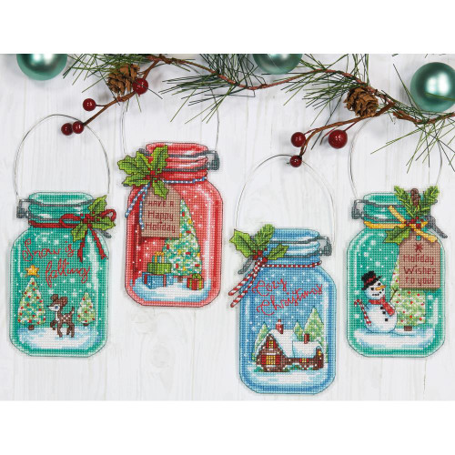 Christmas Jar Ornaments Dimensions Counted Cross Stitch Kit