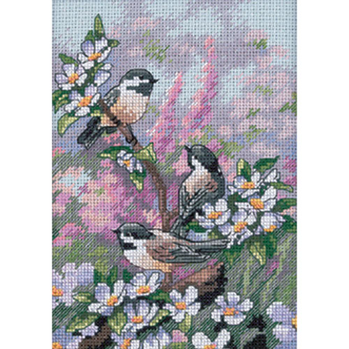 Chickadees in Spring Dimensions The Gold Collection Petites Counted Cross Stitch Kit
