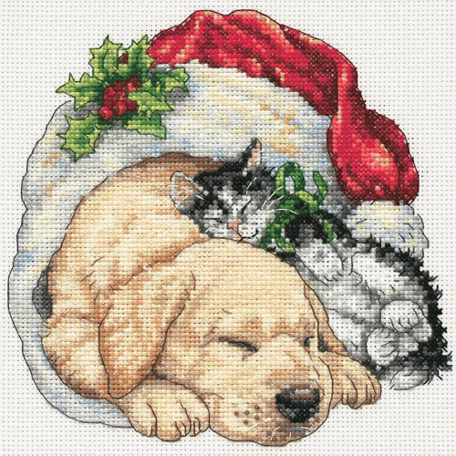 Christmas Morning Pets Dimensions The Gold Collection Petites Counted Cross Stitch Kit