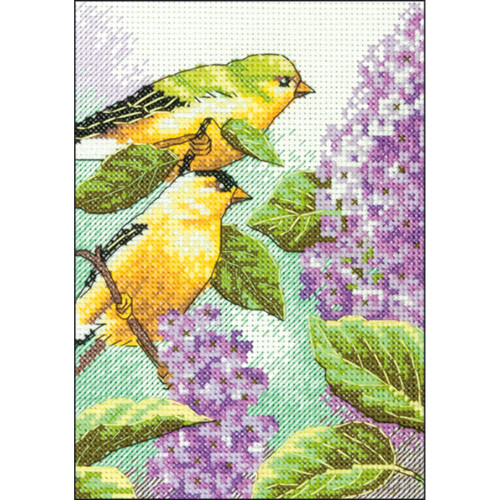Goldfinch and Lilacs Dimensions Mini Counted Cross Stitch Kit