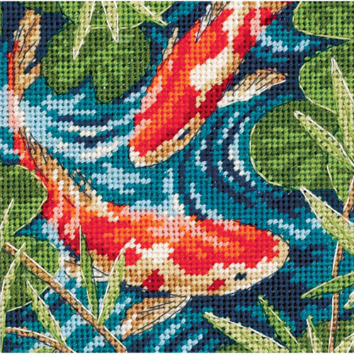 Koi Pond Dimensions Needlepoint Kit