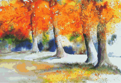 Autumn Watercolor Counted Cross Stitch Pattern - PDF Download