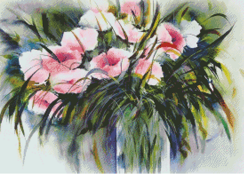 Watercolor Bouquet Counted Cross Stitch Pattern