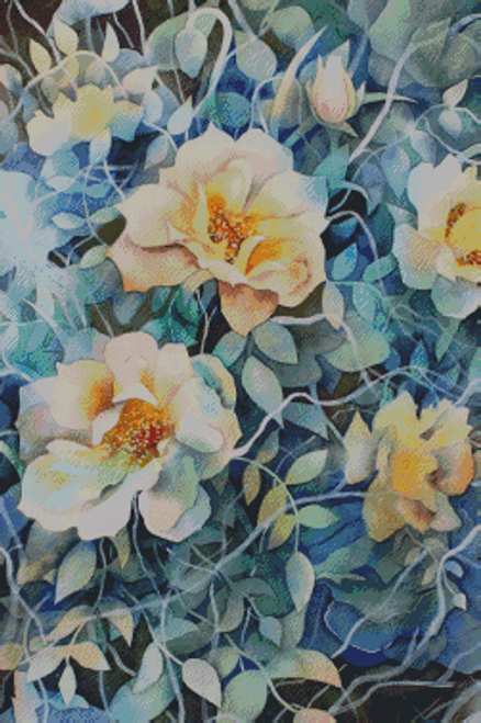 Watercolor Flowers 3 Counted Cross Stitch Pattern - PDF Download