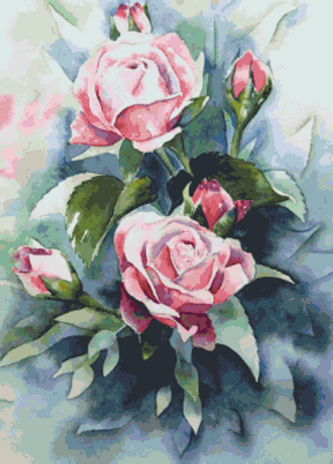 Watercolor Roses Counted Cross Stitch Pattern