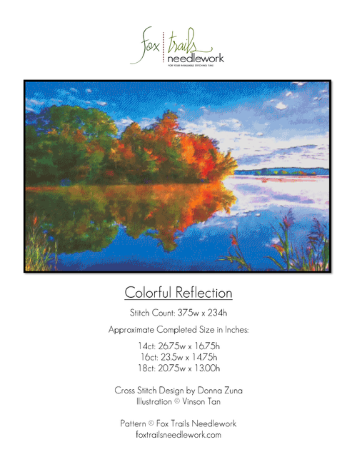 Colorful Reflection Counted Cross Stitch Pattern  Cover Page